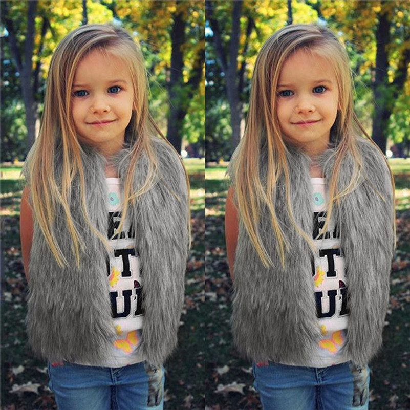 2018 New Style Toddler Kids Baby Girl Winter Warm Clothes Faux Fur Waistcoat Thick Coat Outwear photography props  QC3 одежда на маленьких мальчиков