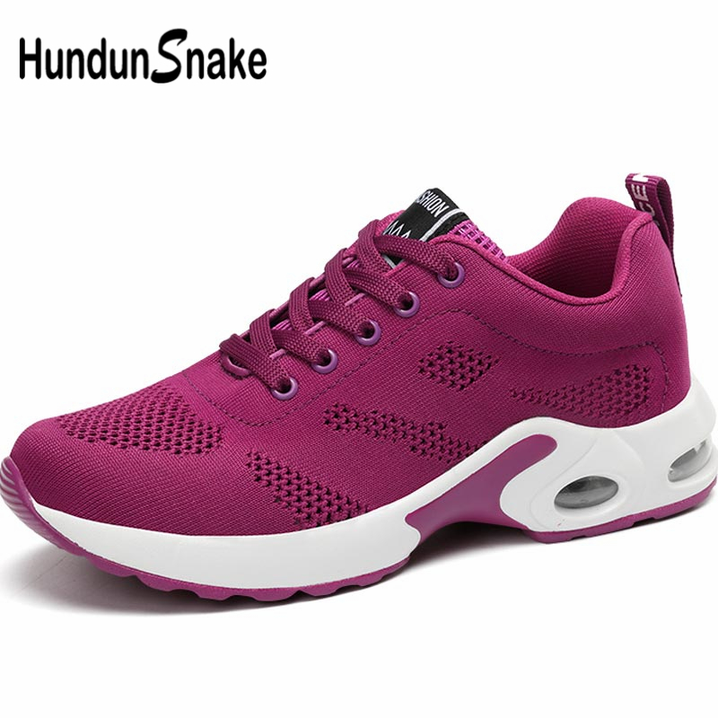 Hundunsnake Summer Women's Sneakers For Fitness Shoes Sport Women's Sports Shoe Air Women's Running Shoes 2019 Mesh Purple B-063