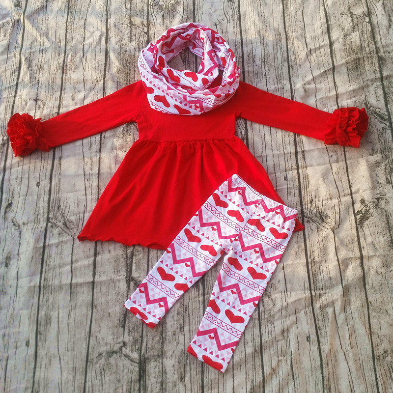 2017 Spring Valentine Day girls Boutique Suits Heart Printing Ruffle Pants Sets Little Girls Fashion Outfits with scarf 8x10ft valentine s day photography pink love heart shape adult portrait backdrop d 7324