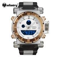 INFANTRY Mens Watches 최고 브랜드 럭셔리 군사 시계 남자 빅 로즈 골드 디지털 LED 손목 시계 육군 실리콘 Relogio Masculino|수정 시계|시계 -