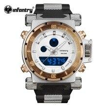 INFANTRY Мужские цифровые кварцевые золотые часы наручные часы Backlight хронограф Секундомер черный резиновый NEW