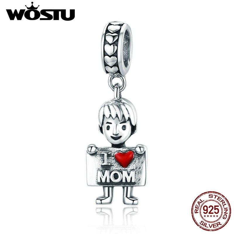 WOSTU 100% реального стерлингового серебра 925 I Love Mom прекрасные мальчик кулон прелести подходят для Для женщин Браслеты и браслеты 925 ювелирные и...