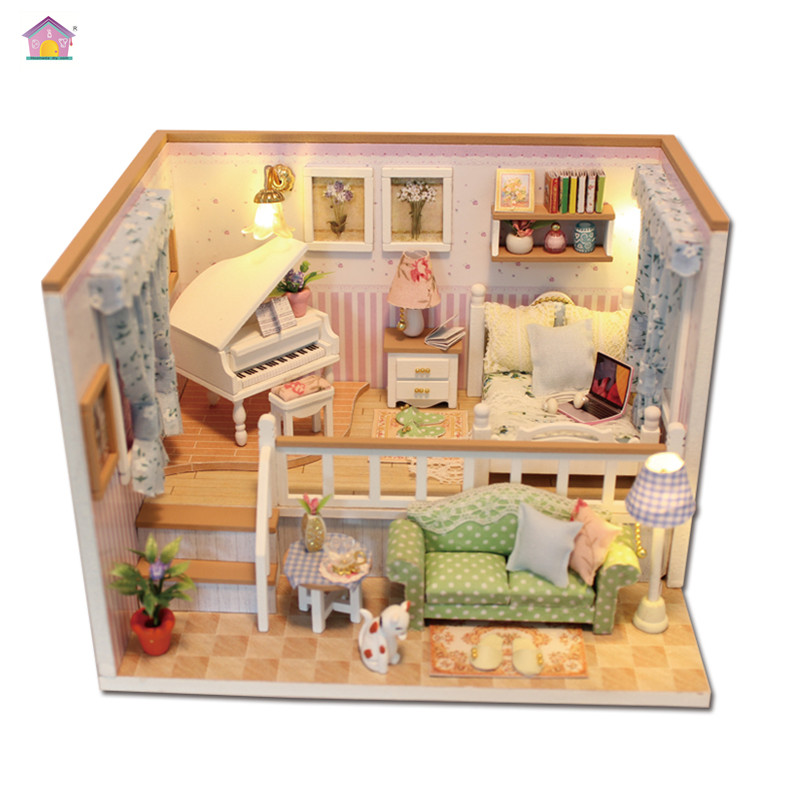 Hoomeda New arrival Miniature Wooden Doll House With DIY Furniture Fidget Toys For Kids Children Birthday Gift Living Room M027
