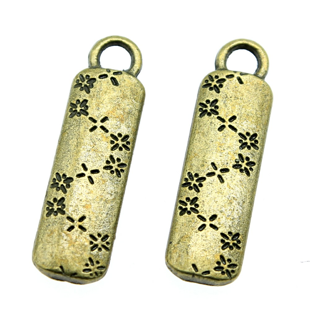 6pcs Charm Flower Vintage Flower Tag Charms Pendant For Jewelry Making Antique Bronze Color Flower Tag Charms 8x27mm