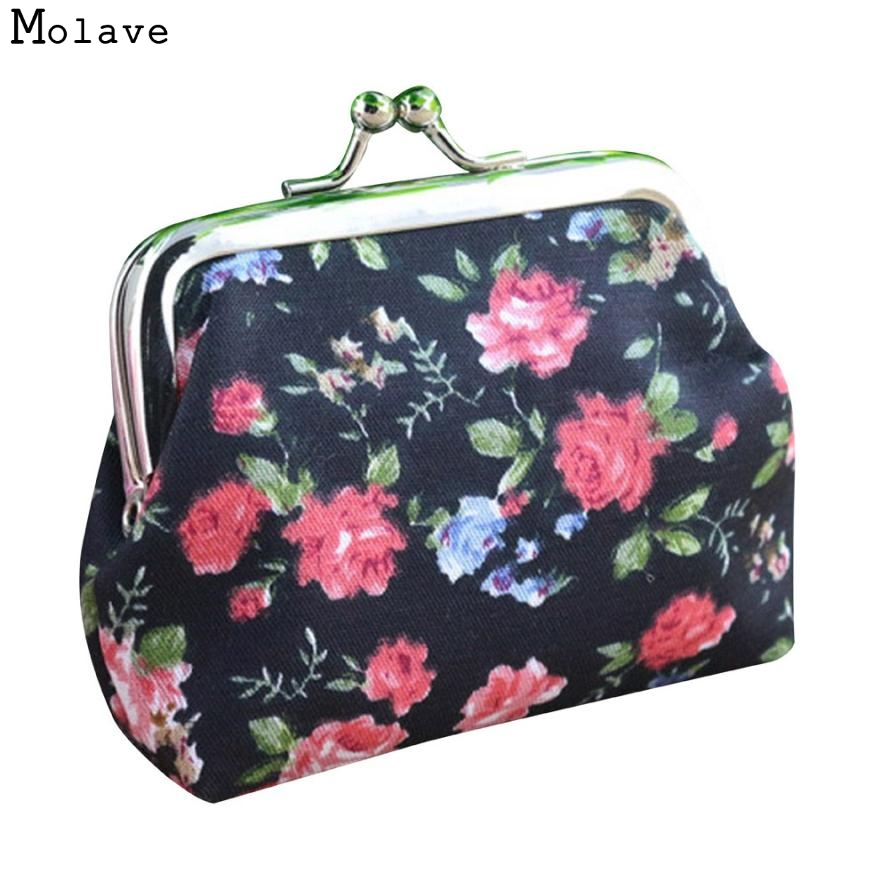 Naivety Mini Women Coin Purse Vintage Floral Hasp Small Wallet Lady Flower Clutch Bag New Good Gift JUL28 drop shipping