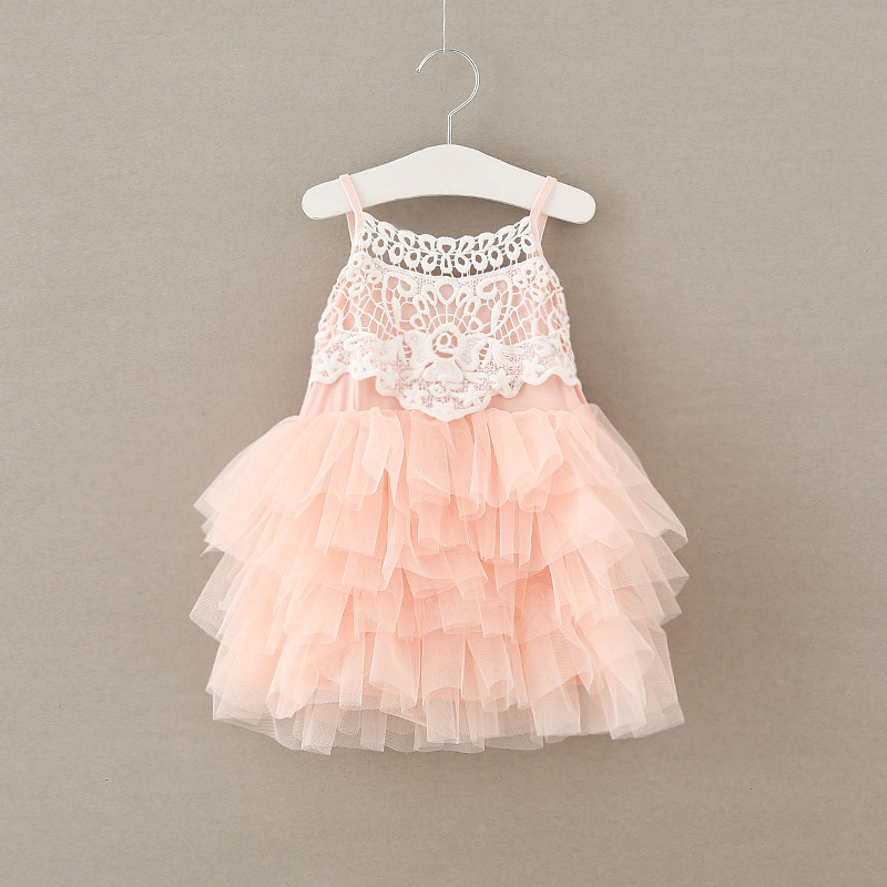 2017 New Girls Lace Dress Pink Flower Tulle Baby Girl Layer Cake Dress Fashion Cute Brand Children Clothing Kids Clothing 2016 pink rainbow girl dress cute cake three layer girls tutu dress with blue bow girl clothing for birthday holiday photo