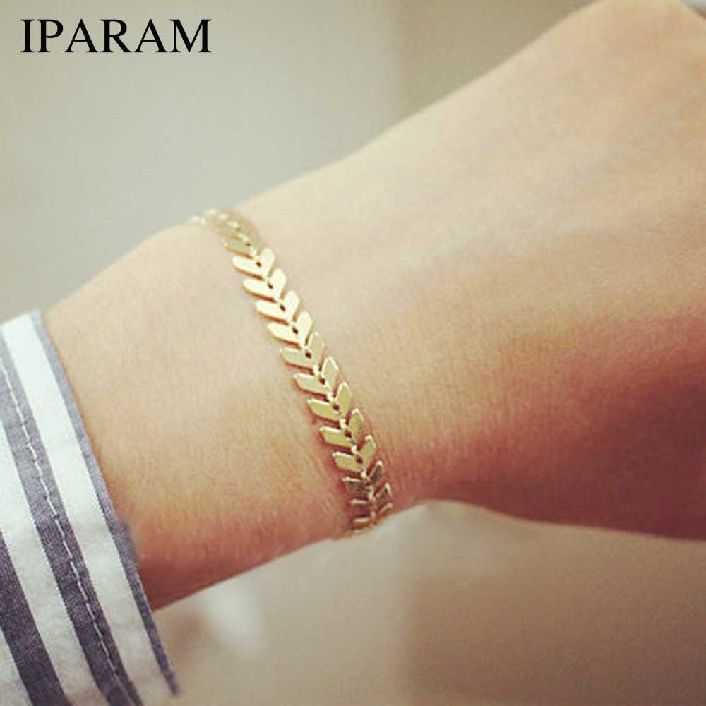 IPARAM Simple Gold Silver Arrow Chain Bracelet for Women Vintage Geometry Punk Sequins Bracelet Bohemian Jewelry Wholesale