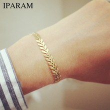 IPARAM Simple Gold Silver Arrow Chain Bracelet for Women Vintage Geometry Punk Sequins Bracelet Bohemian Jewelry Wholesale(China)