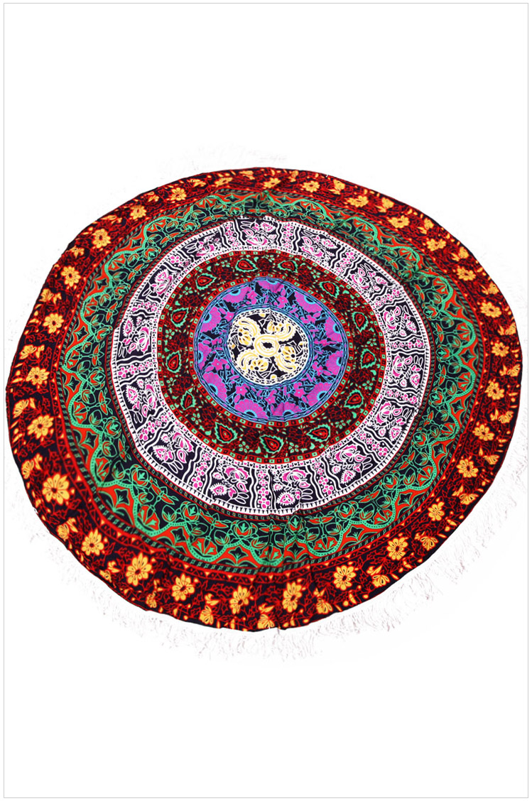 Free shipping Cotton Mandala Round Tapestry Yoga Mat Beach Cover LC42107 oversized cotton round beach towels with tassels