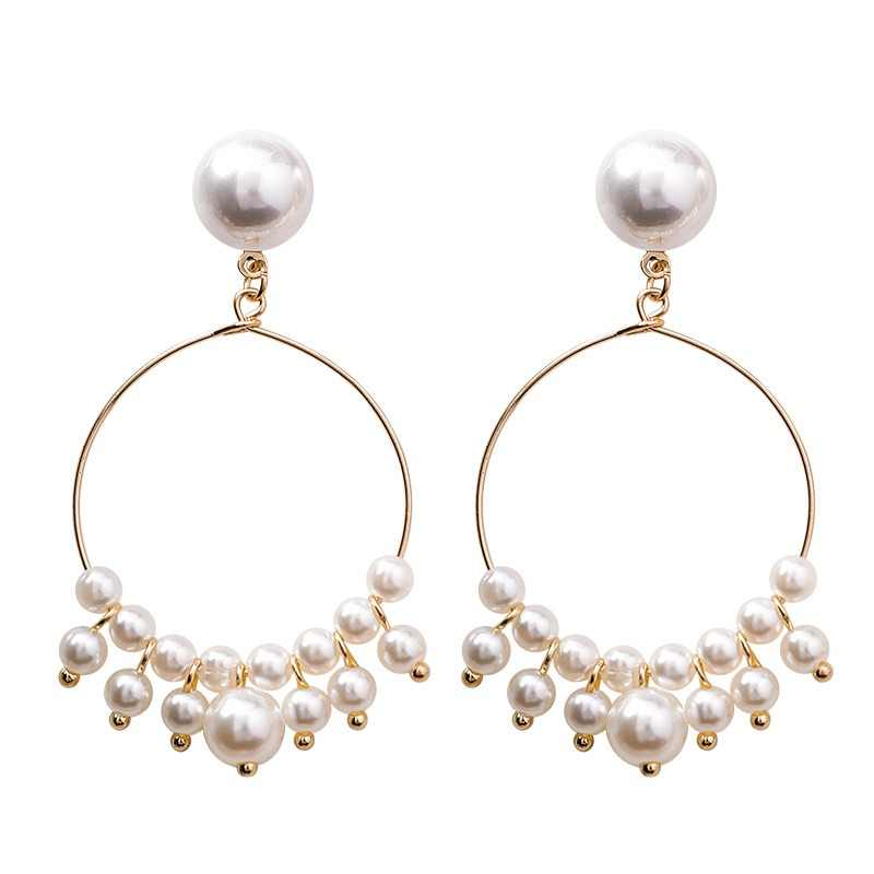 Classic Simulated-pearl Water Drop Women Dangle Earrings Personality Exaggeration Circle Pearl Earrings For Women Drops Earrings