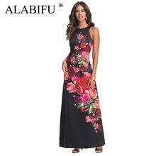 b1ef8959e ALABIFU بوهو الأزهار طباعة سترة طويلة فستان صيفي النساء 2019 مثير أكمام حزب  اللباس عارضة ماكسي اللباس الأسود Vestidos أوكرانيا