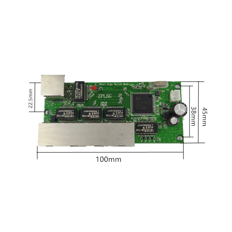 Image 2 - 5 port Gigabit switch module is widely used in LED line 5 port 10/100/1000 m contact port mini switch module PCBA Motherboard-in Network Switches from Computer & Office