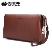 The Bison Men S Leather Handbag Business Large Hand Bag Leather Clutch Made Of Korean Mobile