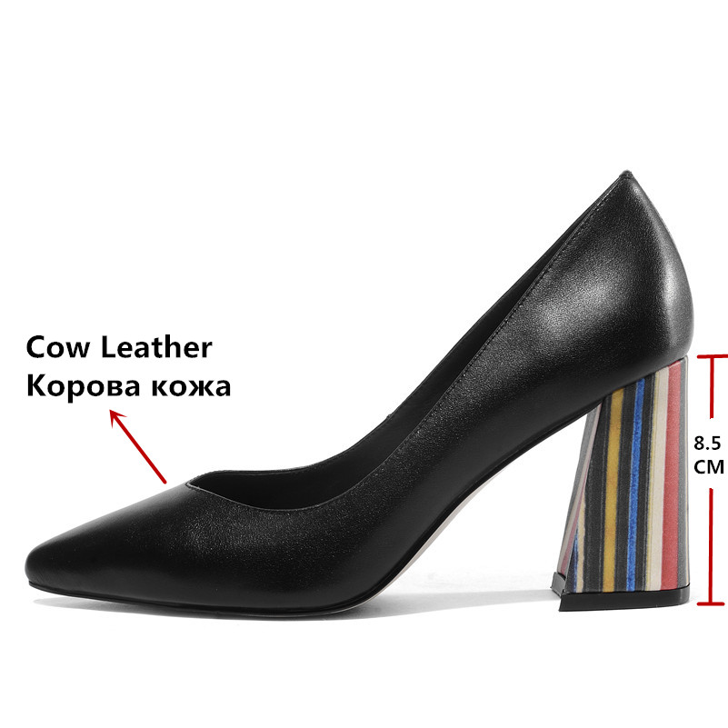 FEDONAS أزياء النساء جلد طبيعي الأساسية مضخات بكعب مربع أنيقة الزفاف أحذية الحفلات امرأة تو اشار مكتب مضخات-في أحذية نسائية من أحذية على  مجموعة 3