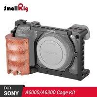 Smallrig a6300 gaiola rig com punho de madeira para sony a6000/a6300 câmera com sapata fria para microfone flash luz opções diy 2082|Suporte p/ câmera| |  -