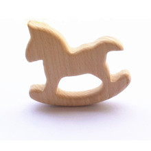 Chenkai 10pcs Wooden Horse Teether Nature Baby Rattle Teething Grasping Toy DIY Organic Eco-friendly Wood Accessories