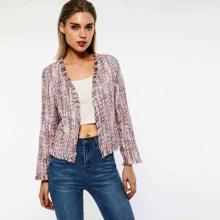 Billig Rosa tweed jacke + shorts anzug mit pailletten 2019 Frühling