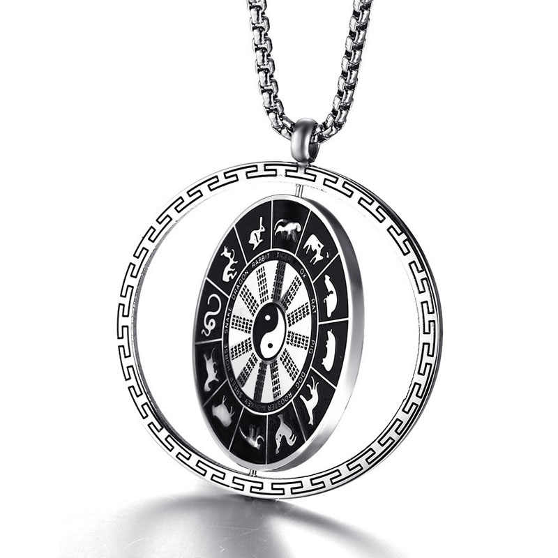 Stainless Steel Gossip Figure Rotating Pendant Taoist Totem Men's Pendant Necklace