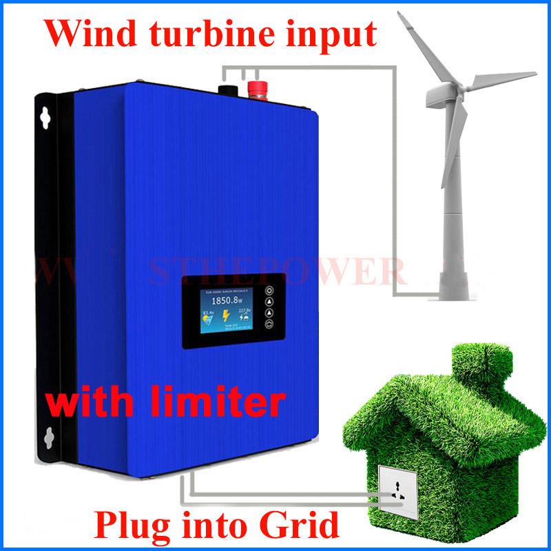 2000W 1000W Wind Power Grid Tie Inverter with Limiter /Dump Load Controller/Resistor for 3 Phase 48v 60v wind turbine generator maylar 3 phase input45 90v 1000w wind grid tie pure sine wave inverter for 3 phase 48v 1000wind turbine no need extra controller