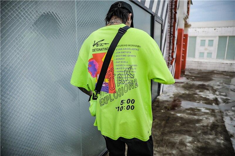 Dark Icon Side Split Fluorescent Green T-shirt with Messenger Bag Hiphop Tshirt Men Cotton Tee Shirts Streetwear Clothing 14