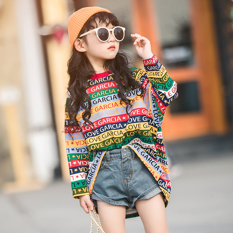 Girls in the long section t shirt spring 2019 new girls foreign cotton cotton shirt children's striped bottoming shirt