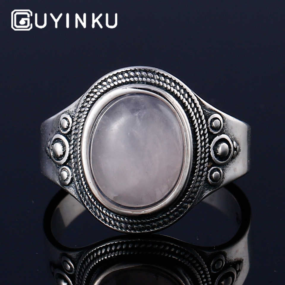 925 Sterling Silver Gemstone Rings Natural Rose Quartz Rings For Women Mother's Day Gift June Birthstone Can Customize