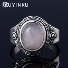 GUYINKU Natural Rose Quartz Rings 925 Sterling Silver Gemstone For Women Mothers Day Gift June Birthstone Can Customize