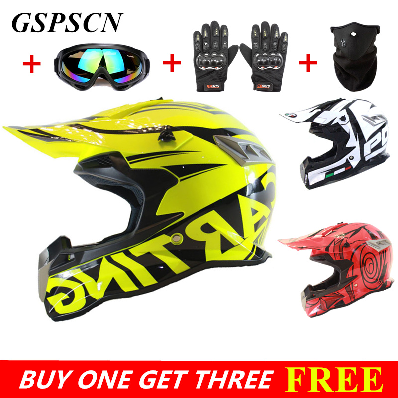 Buy one get three! New Design Motorcycles Protective Gears Dirt Bike Racing Motocross Helmets Cross Country Motorcycle Helmet 2017 new ece certification ls2 motocross motorcycle helmet ff352 full face motorbike helmets made of abs and pc silver decadent
