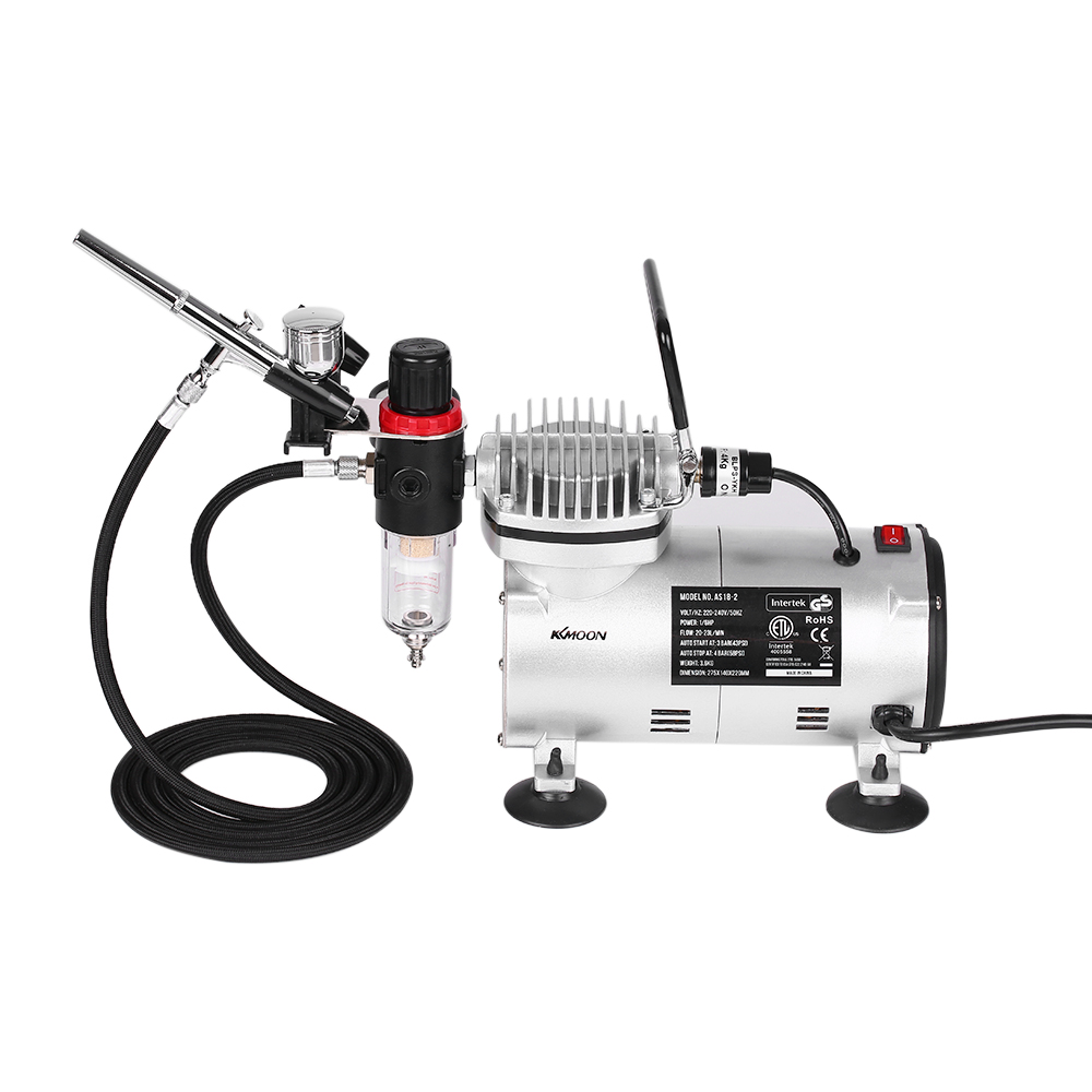 KKmoon Gravity Feed Dual-Action Airbrush Piston Air Compressor Kit with 3 Airbrushes + 6ft Air Hose + Airbrush Holder Set new airbrush kit 1pc air compressor 1pc dual action airbrush 1pc 3m length air hose