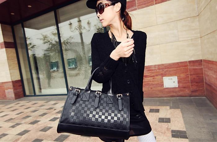 2016 high quality women bag luxury brand Women Messenger Bag Fashion PU Leather Black Handbag Tote