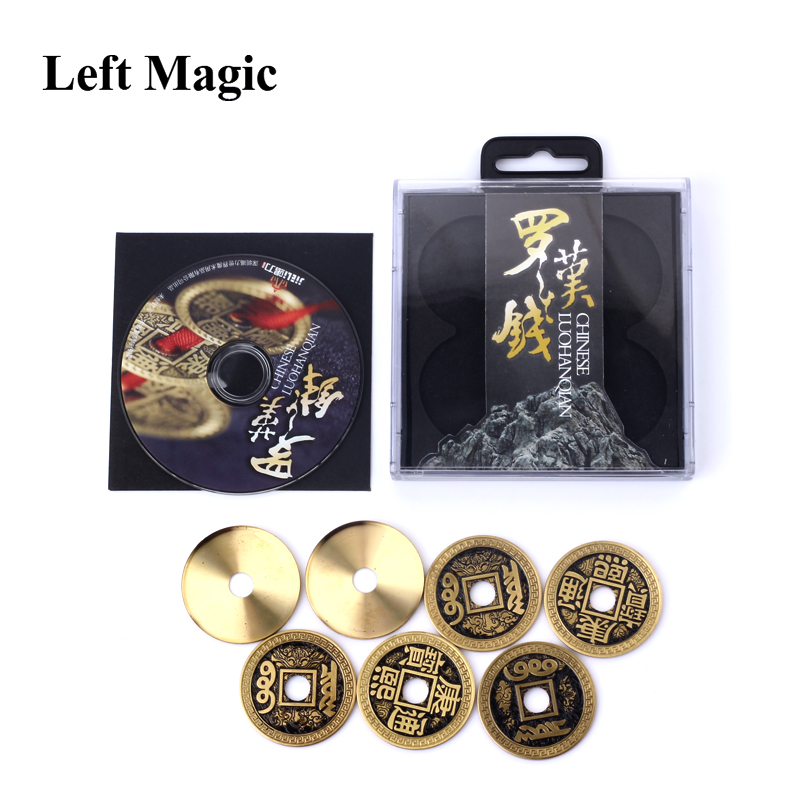 Chinese LuohanQian (Size As Morgan Coin 38mm) Deluxe Chinese Ancient Coin Set Magic Tricks Appearing/Vanishing Close Up Props close-up