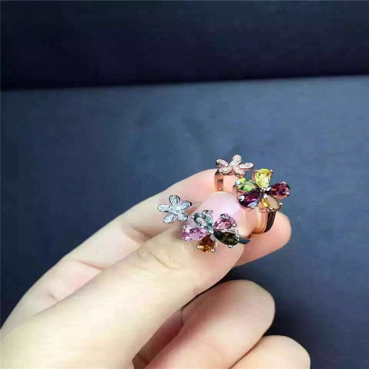 Image 4 - KJJEAXCMY fine jewelry S925 silver tourmaline size of plum flower opening ring jewelry natural gem parcel post.Rings   -