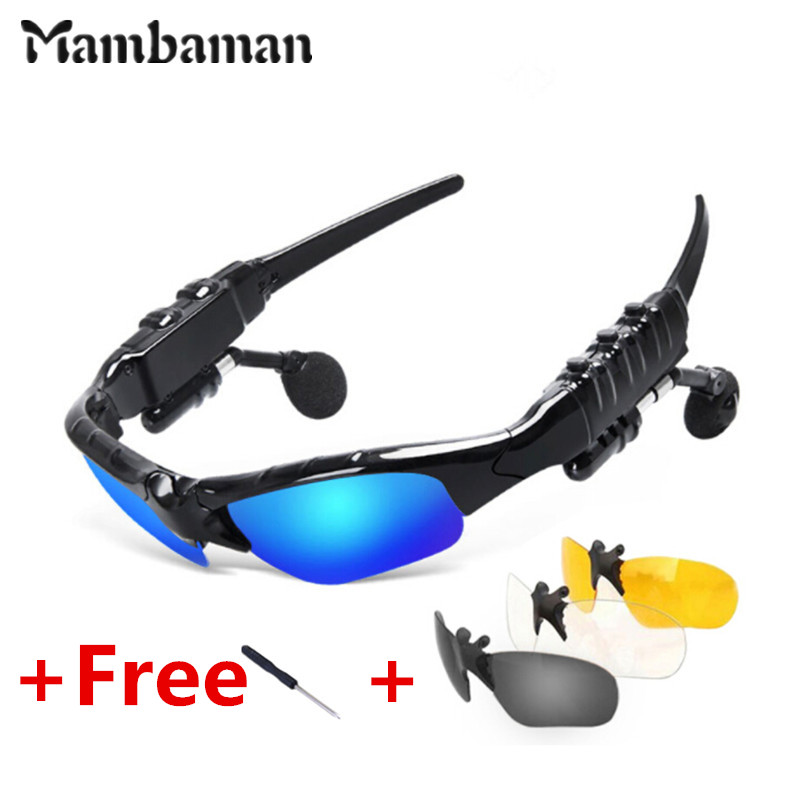 Sunglasses Bluetooth Headset Outdoor Glasses Earbuds Music with Mic Stereo Wireless Headphone for iPhone Samsung xiaomi mi 4 5 rock y10 stereo headphone earphone microphone stereo bass wired headset for music computer game with mic