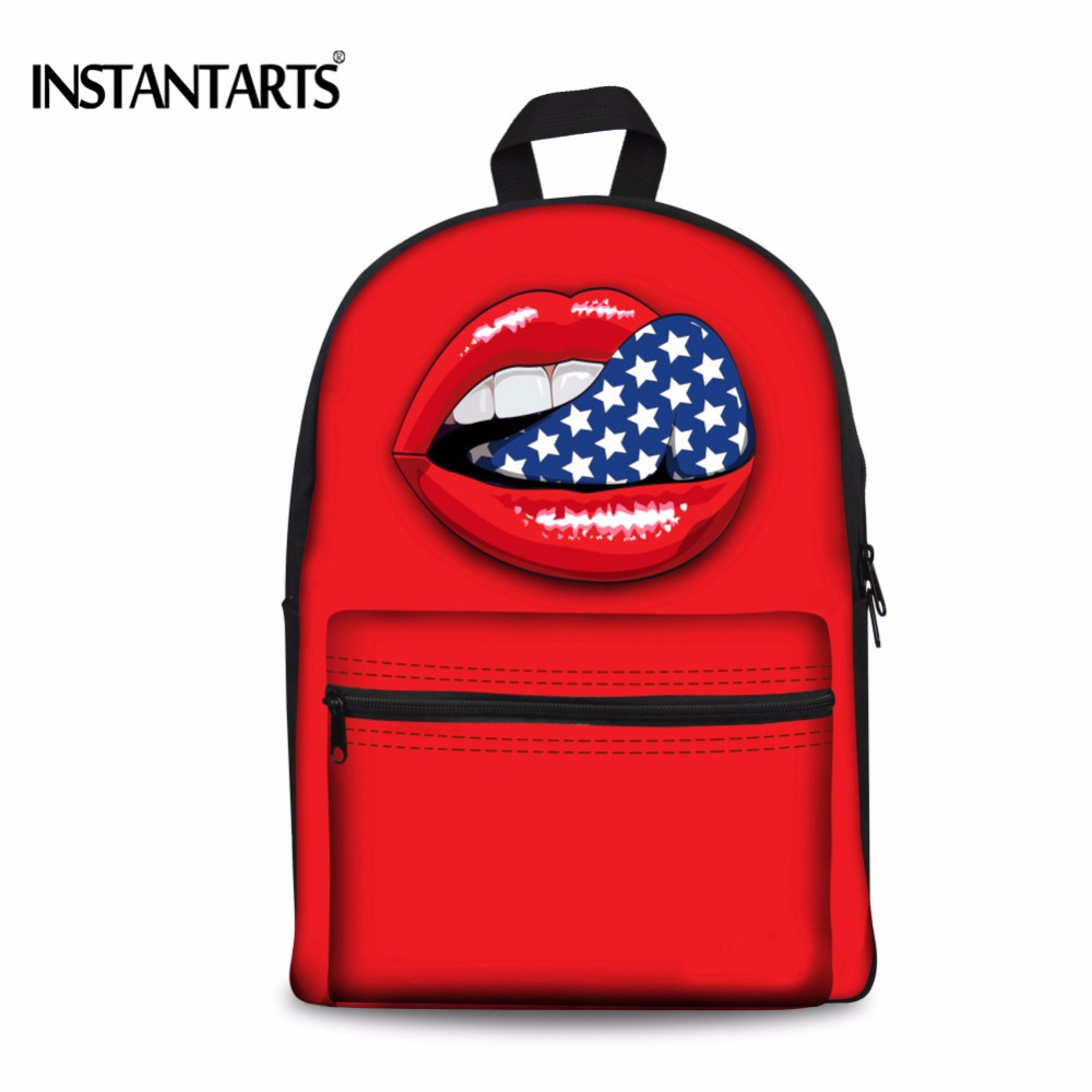 INSTANTARTS 3D Red Lips Printing Backpacks for Teenagers Girls Casual Women Canvas Rucksacks Cute Children Book