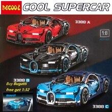 DECOOL 3388 preto vermelho azul Chiron bugattied 3625 pcs Carro 42083 Modelo de Blocos de Construção de Brinquedo Tijolos para lepin 20086 para lego Technic