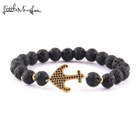 Little MingLou Luxury pave black CZ Navy Anchor Charm men Bracelet 8mm lava stone bead Bracelets & Bangles for men Jewelry