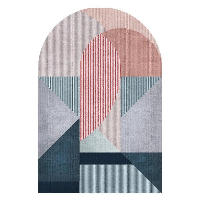 Tapis géométrique nordique salon Table basse en forme de tapis tapis couleur tapis mode personnalité en forme de tapis tapis de sol - 3