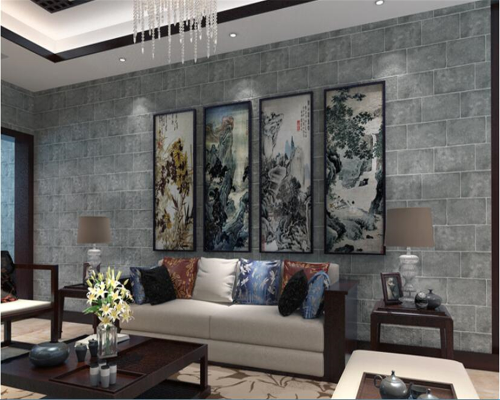 beibehang Retro Chinese brick flocking nonwoven wallpaper background wallpaper wall papel de parede papel parede wall paper beibehang pure paper wall paper nordic lotus abstract sketch papel de parede wallpaper art background bedroom new chinese style