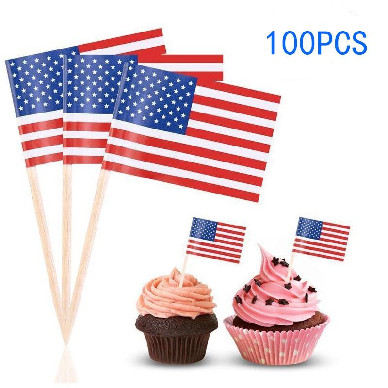 Food Flag Cocktail Sticks Cupcake Sandwich Boy Girl Party Cake Topper W