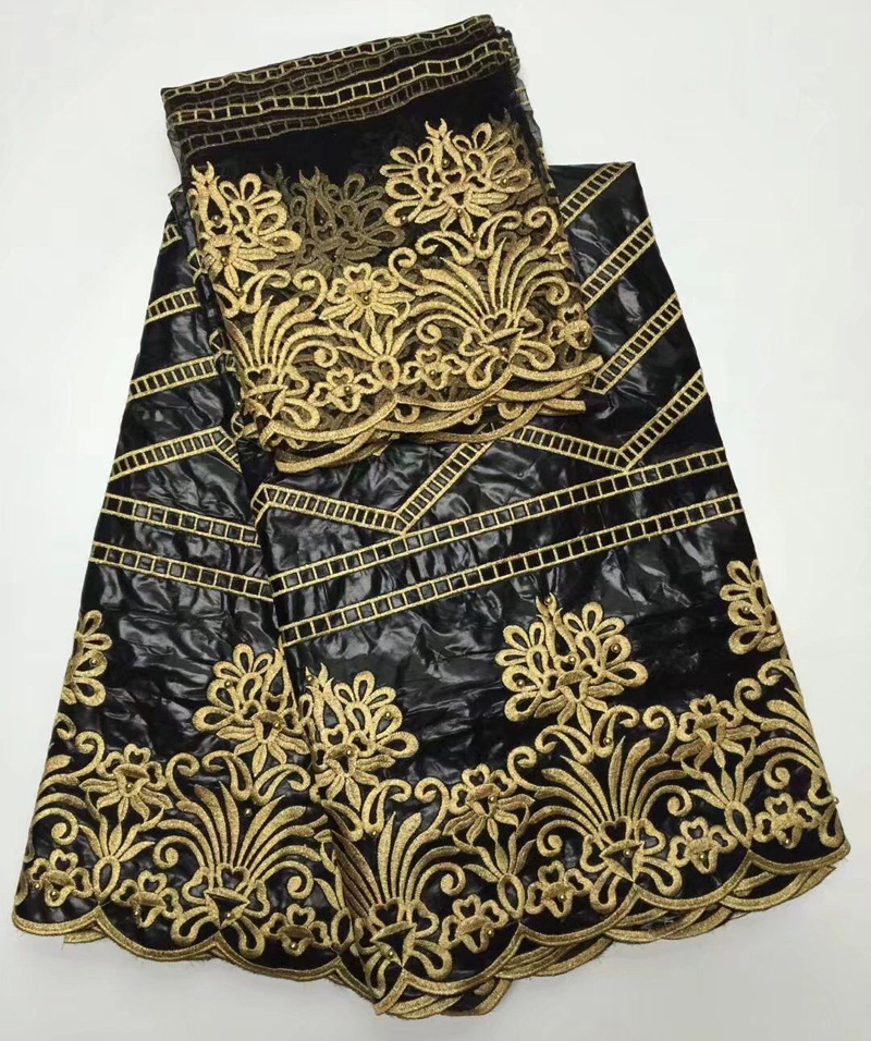 (5+2 yards/set) black and gold African bazin fabric with same design scarf French lace fabric high quality for party dress CBL22(5+2 yards/set) black and gold African bazin fabric with same design scarf French lace fabric high quality for party dress CBL22