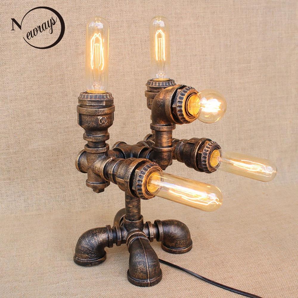 Винтаж Творческий стимпанк робот настольная лампа E27 110 В 220 В ар-деко чтения бюро свет для изучения прикроватная тумбочка для спальни мастер...