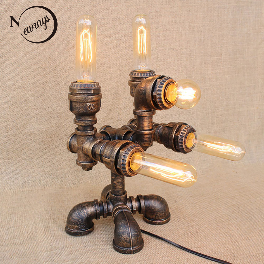 Vintage creative steam punk robot table lamp e27 110v 220v art deco reading desk light for study bedroom bedside workshop office
