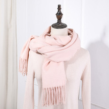 New Thick Warm Winter Scarf Women Tassel Striped Soft Pink Scarves Plaid Cashmere Solid Shawls 2019