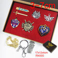Anime Set of 6pcs Legend of Zelda Link Shield Links Sword Weapons Metal Necklace Pendant Keychain Chain Keyrings with Retail Box