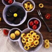 Ceramic Plate Cute Cartoon Mickey Minnie Serving Dish Kids Dinner Plate Porcelain Snack Fruit Tray Food