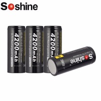 4pcs 26650 Rechargeable Li-ion Battery 3.7V 4200mAh Short-circuit Batteries Over charge discharge Overload Protection Batteria