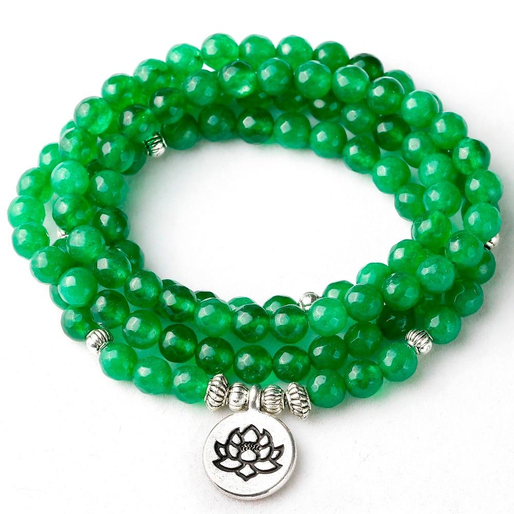6a51a1bff257 Los hombres de las mujeres 6mm facetada piedra verde Yoga equilibrio  curación Mala Buda 108 cuentas de loto encanto pulsera joyas regalo para él