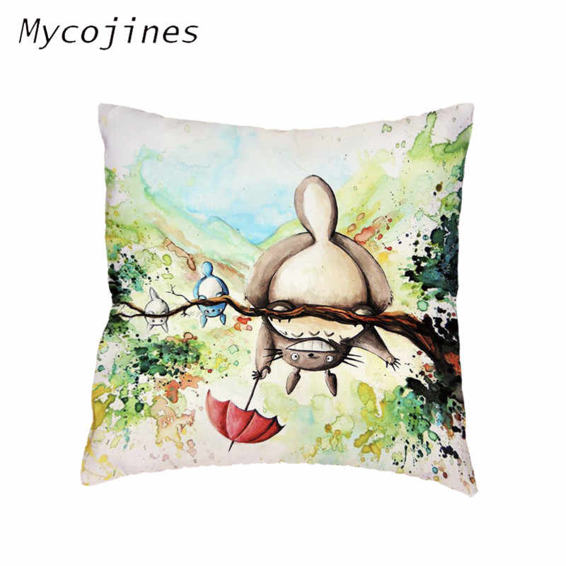 Hayao Miyazaki Totoro Howl do Moving Castle Fronha Capas de almofadas Lance Fronha Home Decor Cadeira Do Sofá Sala de estar Branca