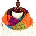 2017 Nova Venda Mulheres Inverno Quente Cachecóis Anel Lic Knitting Lady Moda Rainbow Lenço Feminino Envoltório xale de lã Engrossar Sq308