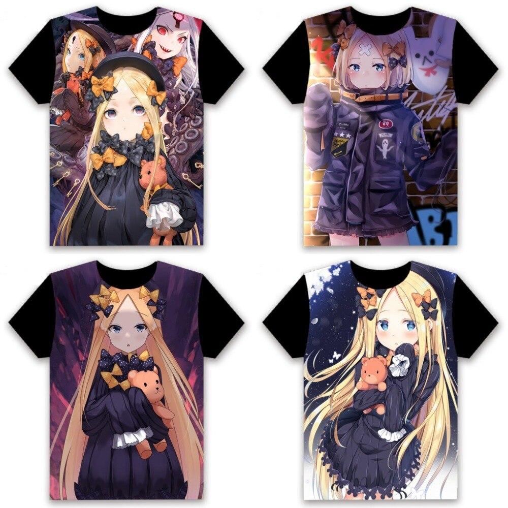 Men's T-shirt Anime FGO Fate/Grand Order Abigail Williams Cosplay Short Sleeve Unisex Casual Black Tee Summer Fashion Funny Tops